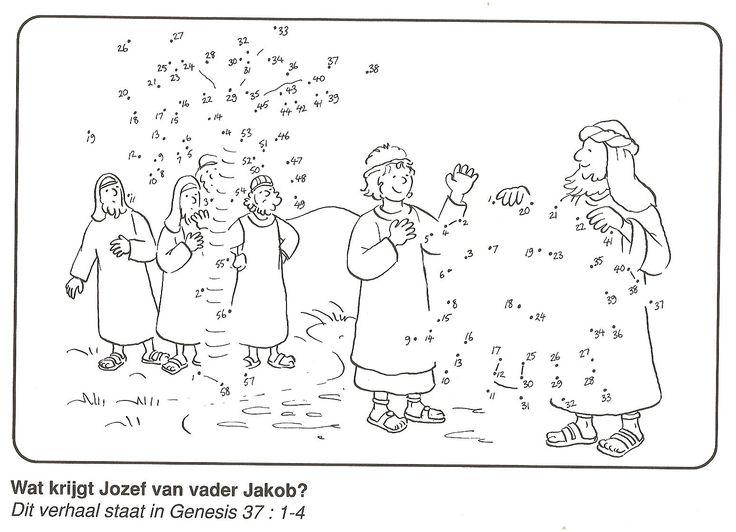 wat krijgt Jozef van vader jakob? jas van stip naar stip