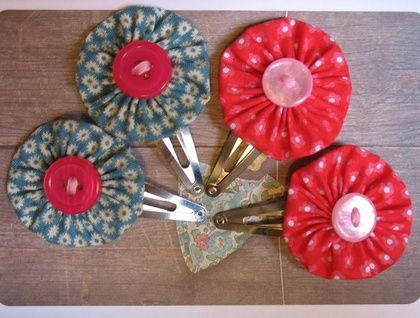 Fuxico or Yoyo Flower  Pair of Hair Clips