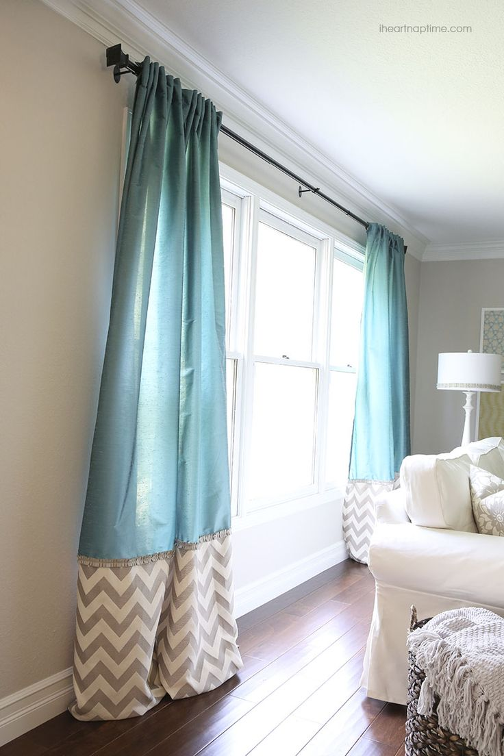 This is a great idea...especially to add a little bit of pattern to a solid curtain or a little solid to a pretty printed curtain... Plus can save you money by not buying the super long curtains.