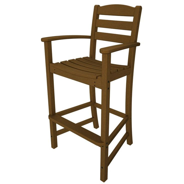 Outdoor POLYWOOD® La Casa Cafe Recycled Plastic Bar Height Arm Chair Teak - TD202TE