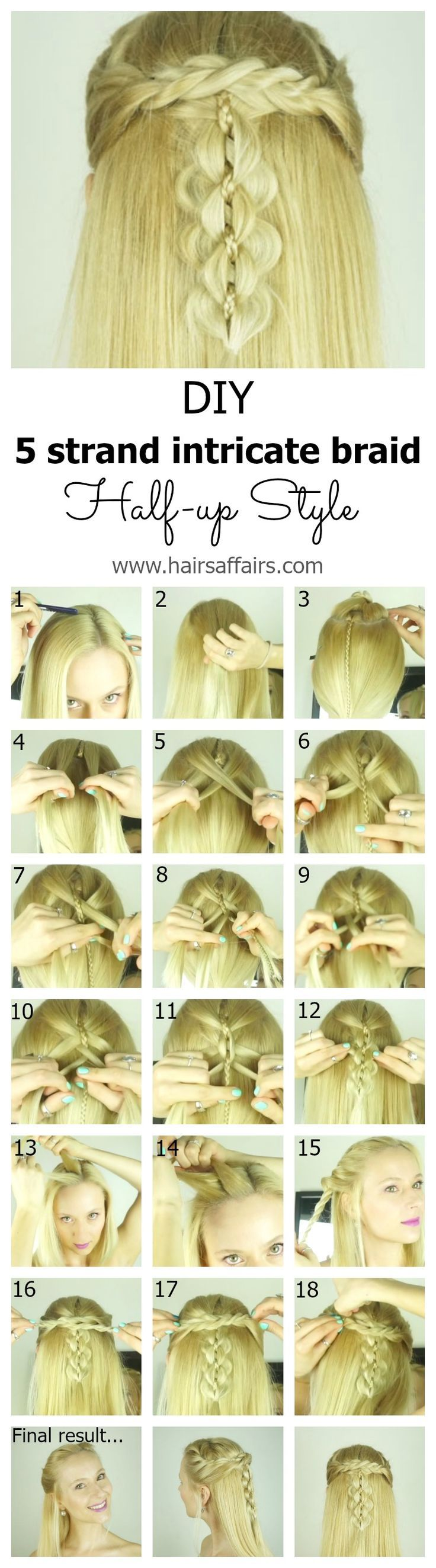 The intricate five strand braid is actually quite doable, even on yourself, once you break it down into easy step-by-step instructions. Check out this blog post (video tutorial included) to see how to make this head turning hairstyle on yourself: https://