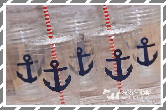 Nautical Party-Kids Party Cups-Anchor Party by PartyCupMedley
