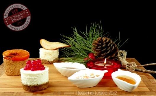 Cheesecakes salate con sorprese di frutta