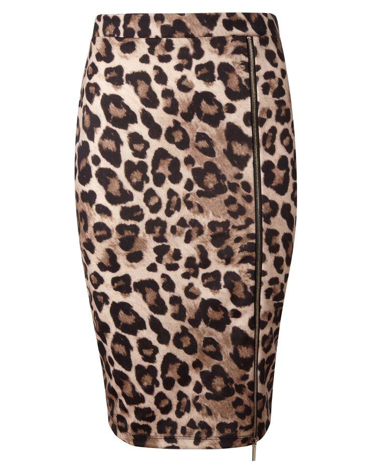 Kardashian Animal Print Zip Pencil Skirt