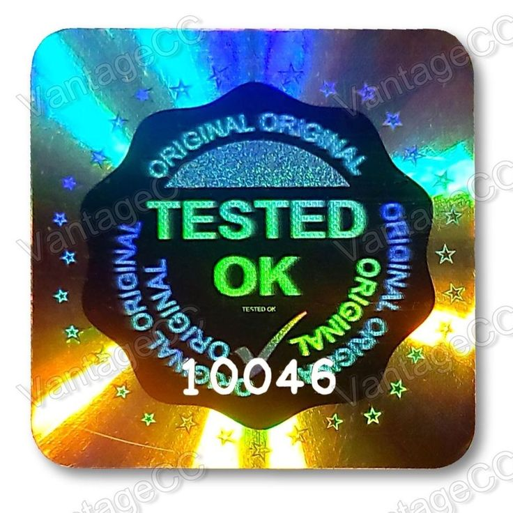 Large tested ok security hologram stickers labels 20mm square qc checked tick