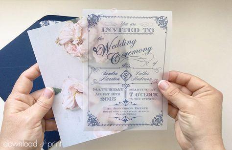 DIY translucent wedding invitation with vintage rose background   Download & Print