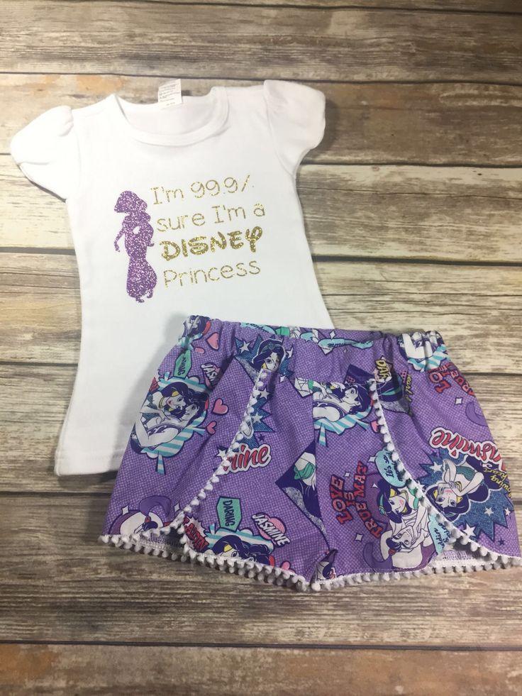 Disney Shorts, jasmine Shorts, jasmine Tee, Princess Tee, disney outfit, disney tee by HaydenAndRuth on Etsy https://www.etsy.com/listing/506222790/disney-shorts-jasmine-shorts-jasmine-tee
