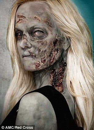 Mena Suvari strikes a rotting pose after her zombifying facial designed by 'The Walking Dead' makeup guru Greg Nicotero