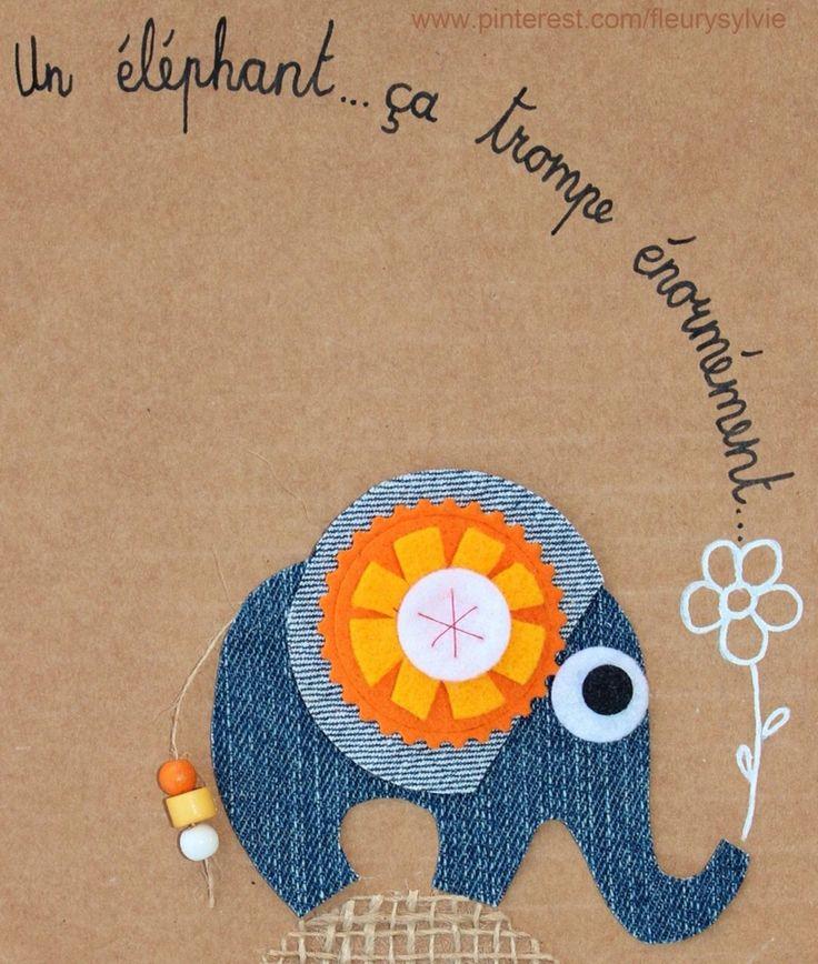 Un éléphant ça trompe énormément ! Recyclage des pantalons  #jeans #recycle http://pinterest.com/fleurysylvie/mes-creas-la-collec/