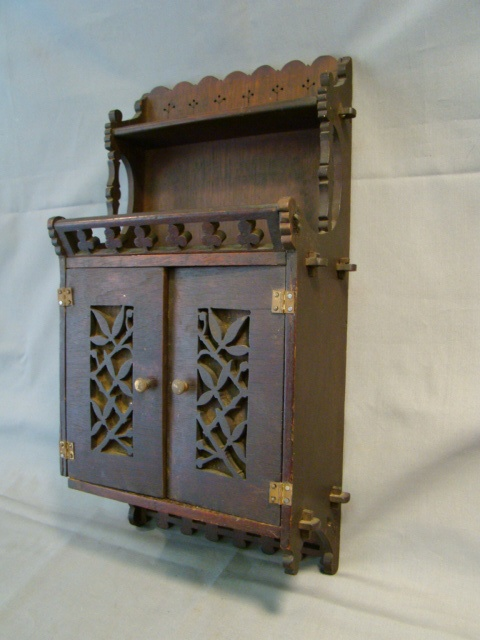 Antique Arts Amp Crafts Old Wood Hanging Spice Rack Wall