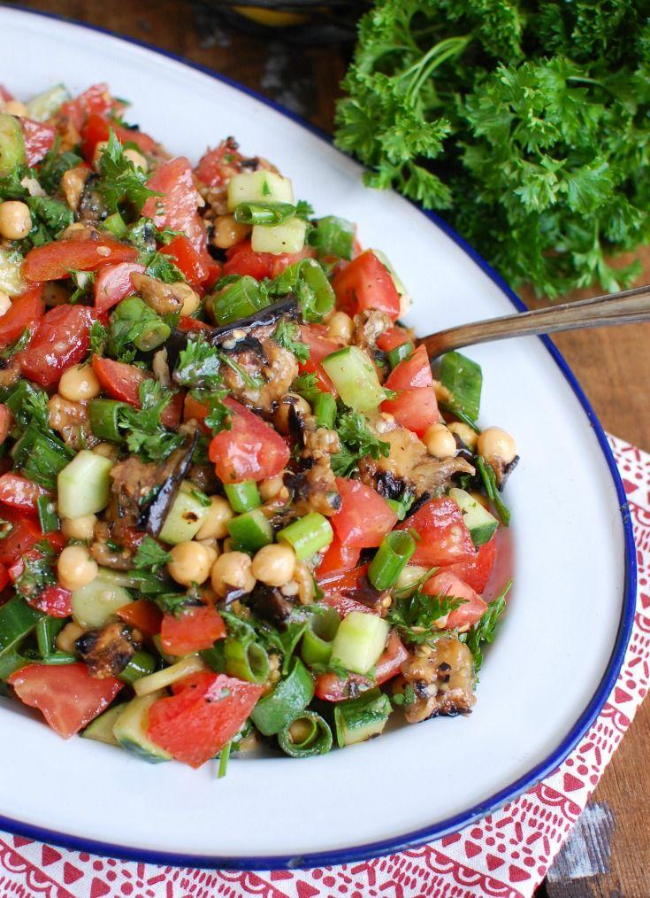 Mediterranean Eggplant Chickpea Salad Recipe In 2020 Eggplant Recipes Healthy Eating Recipes Healthy Recipes