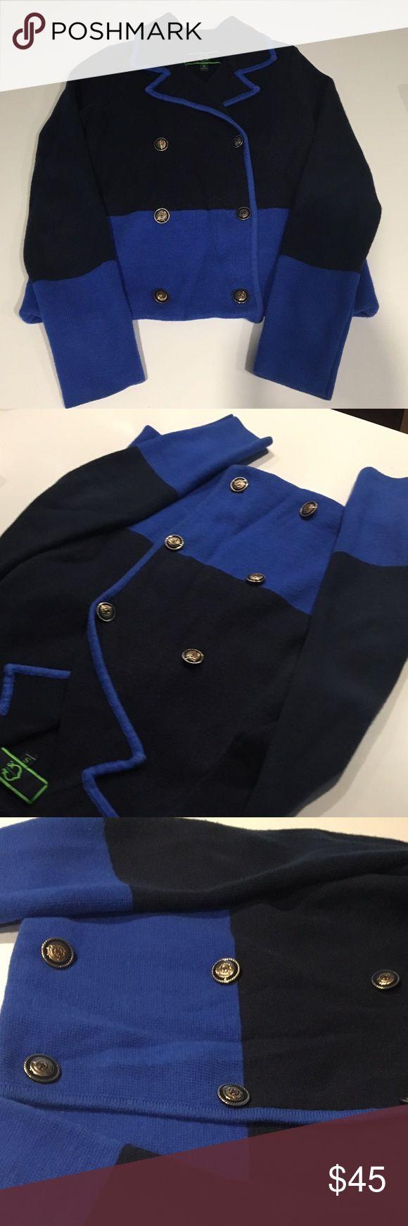 C Wonder // Colorblock cotton blazer Navy and cobalt cotton blazer with gold buttons Jackets & Coats Blazers