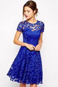 Vestidos de encaje azul rey 2016 cortos                                                                                                                                                                                 Más