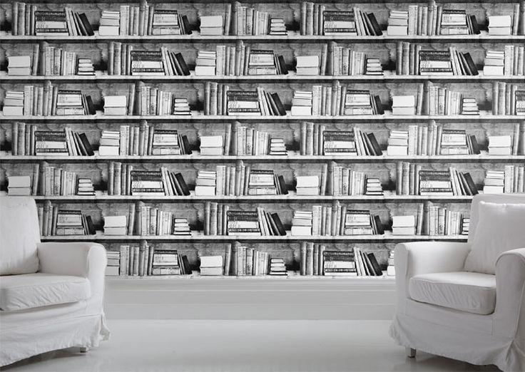 Papier Peint Trompe L'oeil livres noir et blanc dans une bibliothèque donnera à…