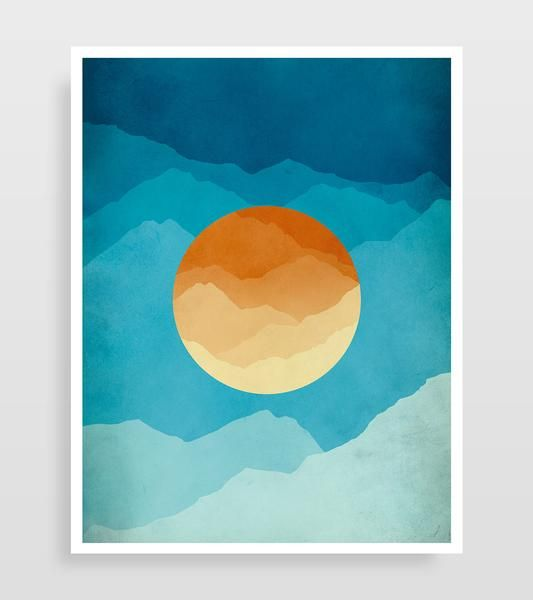Mid Century Modern abstract art print of mountains. This modern wall art is in orange and blue is great as living room or office decor.