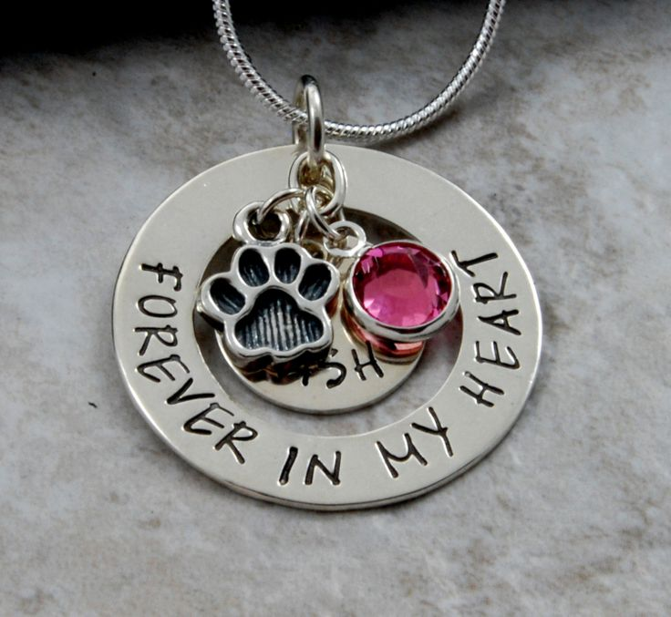 Forever In My Heart Pet Memorial Necklace Pendant Sterling Silver Or Nickel Hand