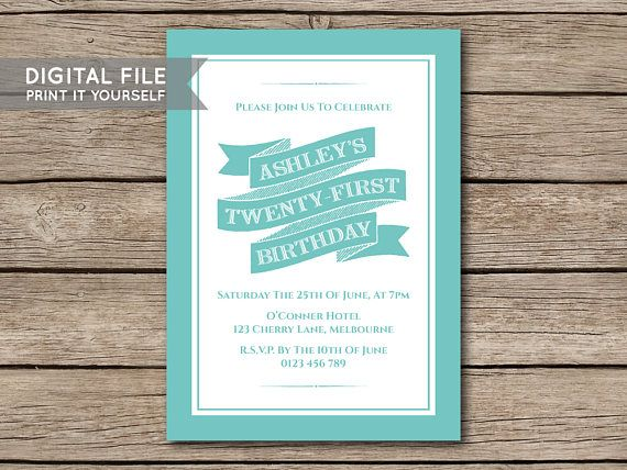 DIGITAL FILE  DIY Banner Birthday Party Invitation Invite