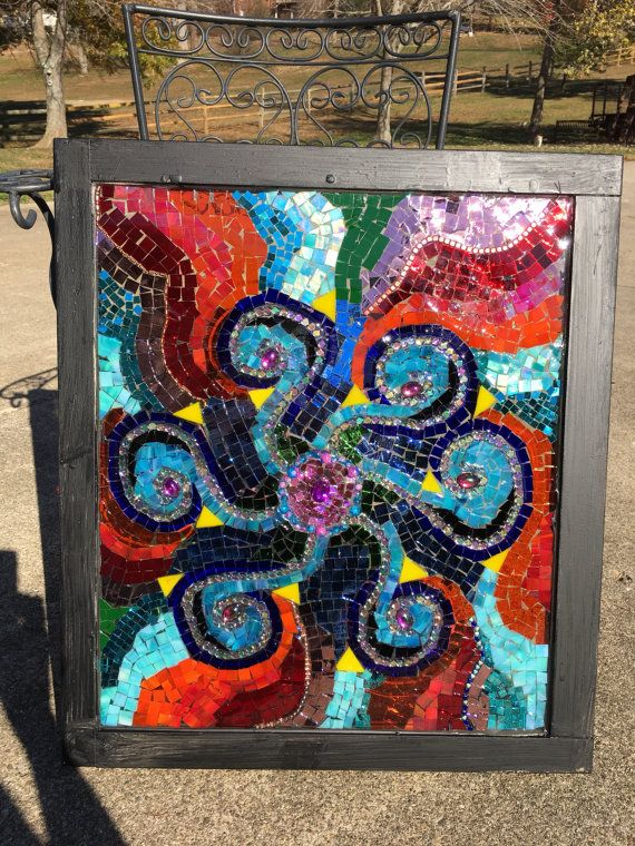 Mosaic window with happy colors by GlassyGiftsByLisa on Etsy