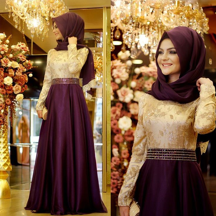 Purple Gold Lace Chiffon Cheap Modest A Line Long Sleeves Muslim Hijab High Neck Formal Long Evening Dresses For Wedding Party