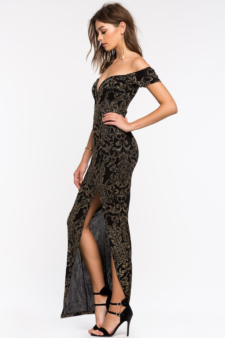 Women's Maxi Dresses | Geneva Glitter Off Shoulder Gown | A'GACI