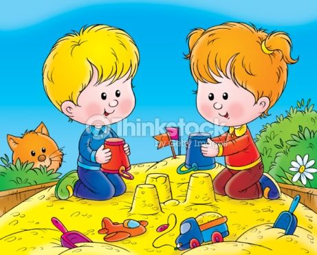 Stock Illustration : Playing Friends