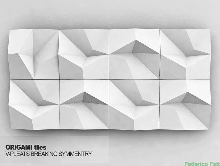 ORIGAMI tiles, V-pleats, breaking symmetry