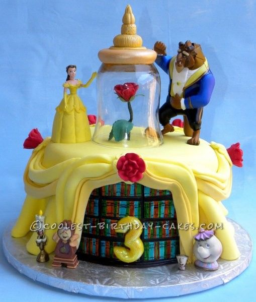 Beauty and the Beast Birthday Cake... This website is the Pinterest of birthday cake ideas...Repin and help me win!
