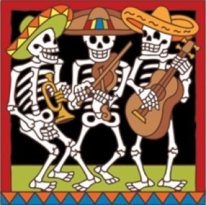 Day Of The Dead Tile Musical Skeletons ArtMexican Folk