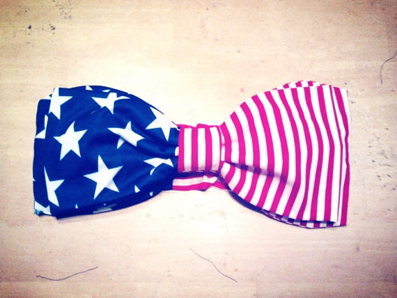 American Flag Style Bow Bandeau Swimsuit $30.00