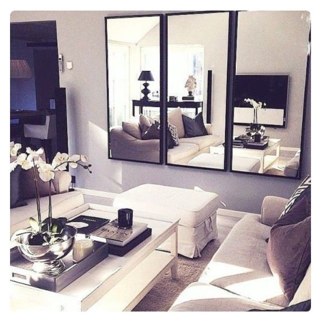 The use of mirrors in a smaller roomopens it up and make it look bigger...plus you have somewhere to check your lippy