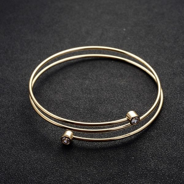Bracelet - Platinum or 18K Gold Plated, Spring Bracelet with Cubic Zirconias