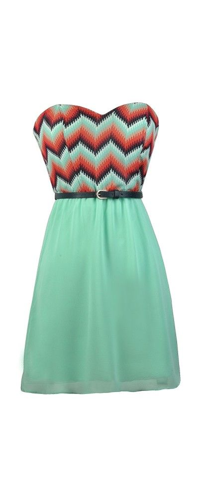Lily Boutique Pixelated Waves Belted Mint Strapless Dress, $38 Chevron Belted Dress, Cute Chevron Dress, Mint Chevron Dress, Coral and Mint Dress, Cute Summer Dress, Belted Chevron Dress www.lilyboutique.com