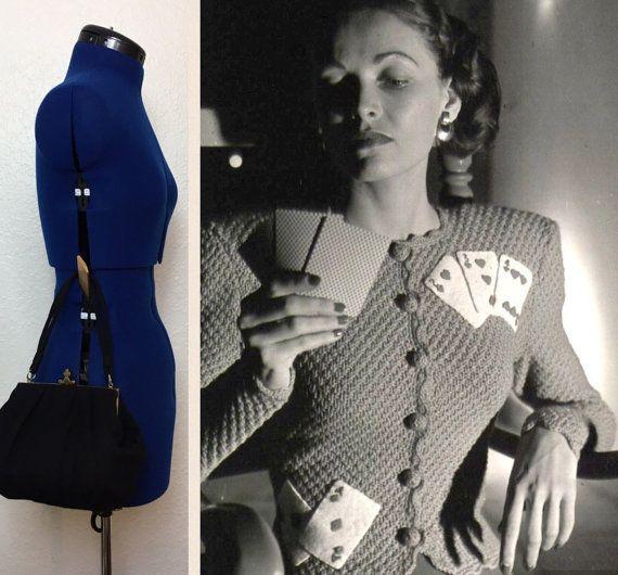 40 's koningin van Clubs zwarte wol handtas