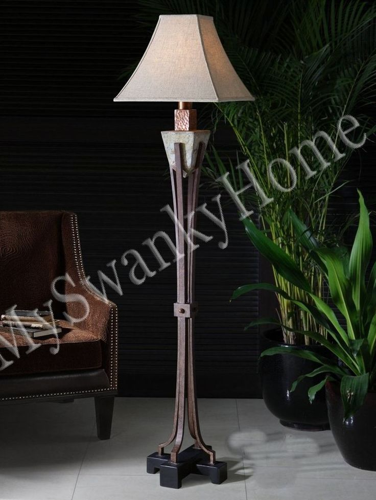 Indoor Outdoor Tuscan Stone Floor Lamp Patio Outside Mediterranean Designer  Luxe