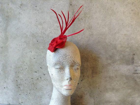 Copricapo da sposa - sposa Fascinator - copricapo - Berretti - abiti da sposa - rosso Sinamay