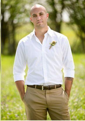 white silk shirt and khaki pants wedding - Google Search: