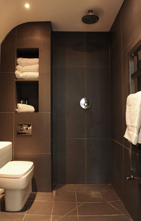 *more shelf ideas*Slate Wetroom. This is a great idea for a small bathroom.