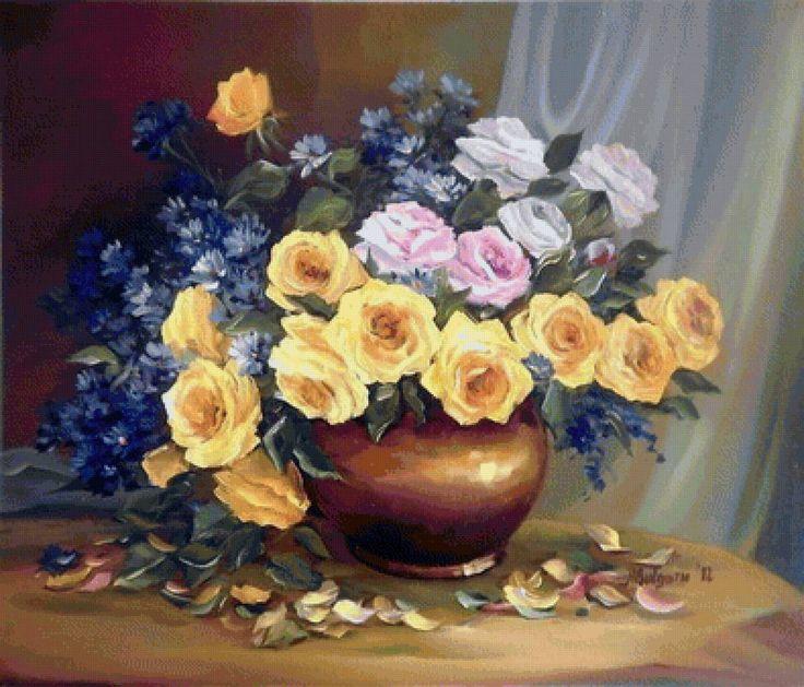 žlté ruže,modrá chrpa - Схемы вышивки - he4lin6da - Авторы - Портал «Вышивка крестом»