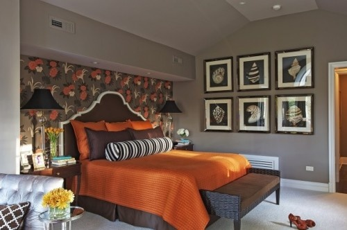 love the wallpaper behind the bed