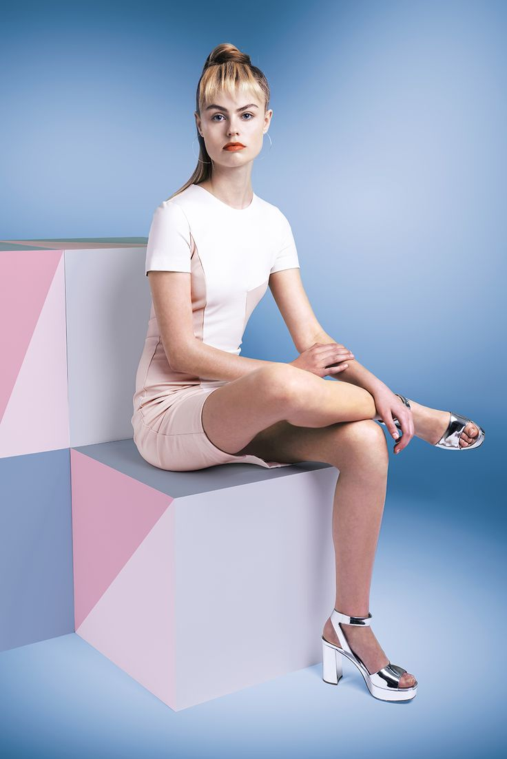 Studio Heijne bodycon office dress Workday customised in off-white and powder pink.