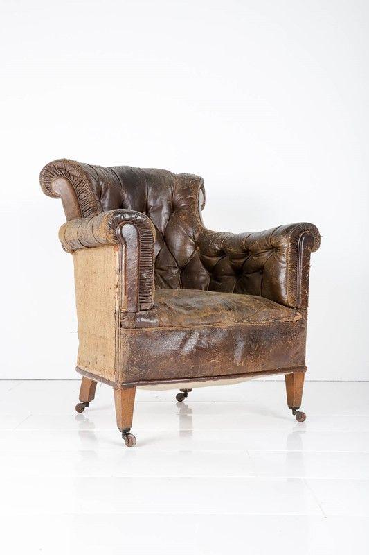 Edwardian Leather Button Back Armchair   Decorative Collective