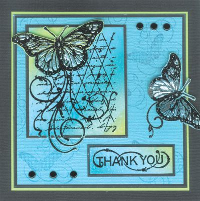 Stamp-it Australia: 3788G Butterfly Formation, 3859D Thank You Curves, 3796D Butterfly Whirl - Card by Annie