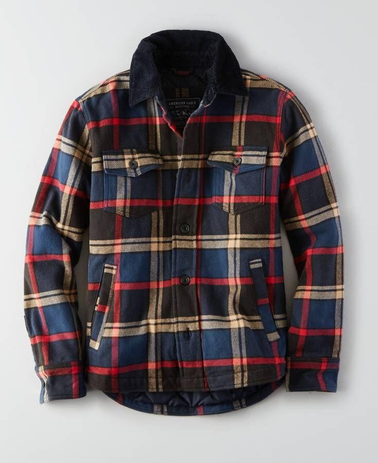 AEO Flannel Jacket (Coat), Men's, Multicolored