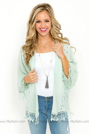 Filly Flair: Pure Sweetness Lace Kimono in Eggshell Blue