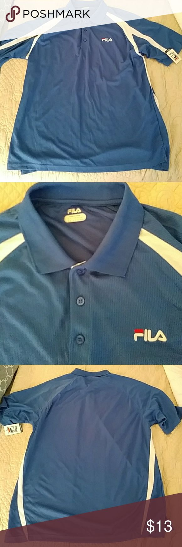 Nwt, Fila men's golf polo shirt size large. Brand new men's Fila sports golf polo size large brand new with tags and excellent new condition see pics for measurements. Materials made 100% polyester and has good stretch. Fila Shirts Polos