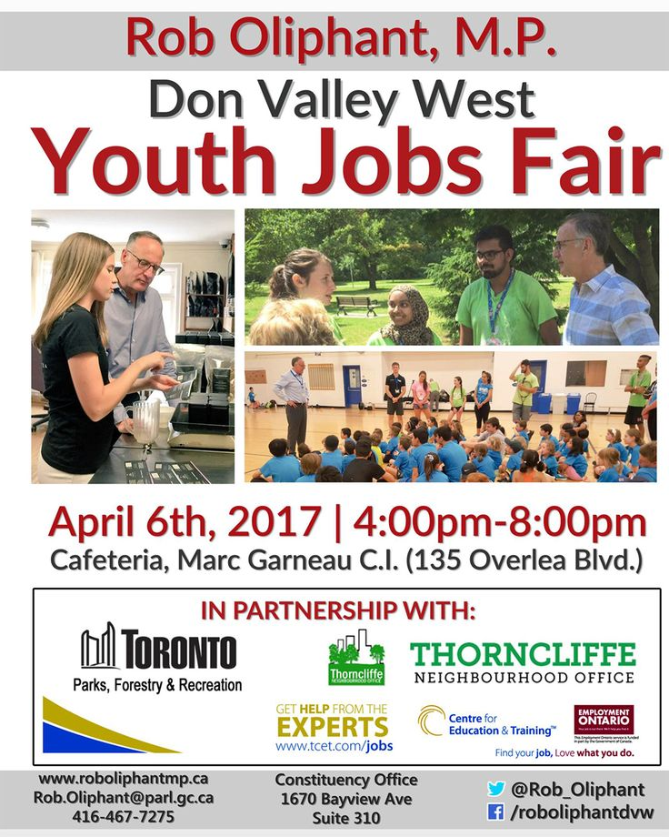 Are you between the ages of 15 & 29 and looking for work? This Thursday April 6, 4pm-8pm - don't miss the Youth Job Fair at Marc Garneau C.I, 135 Overlea Blvd. #T_C_E_T #youthjobs #youthemployment