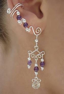 Dangle With Ear Wrap - Large Spiral