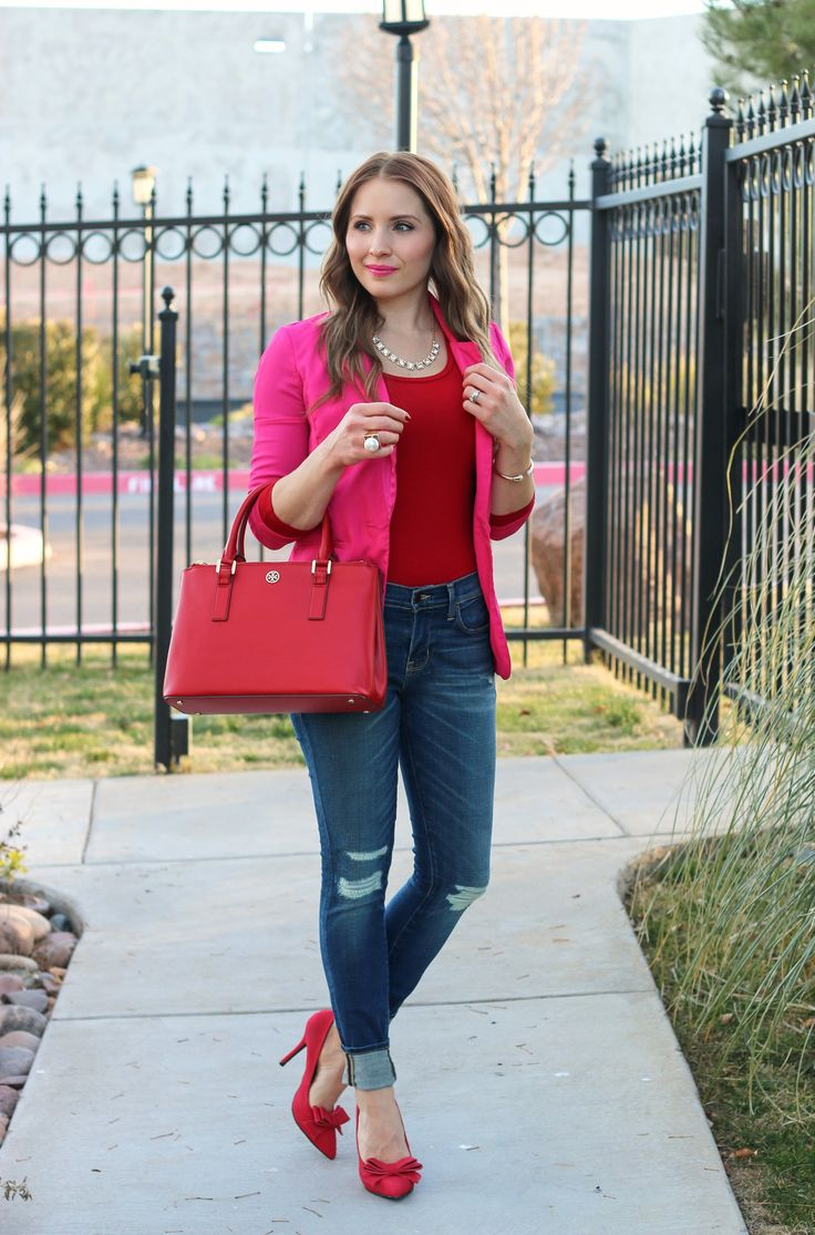 Pink and Red Casual Valentine :: Hot Pink Blazer and Red Bow Pumps - Glamour-Zine