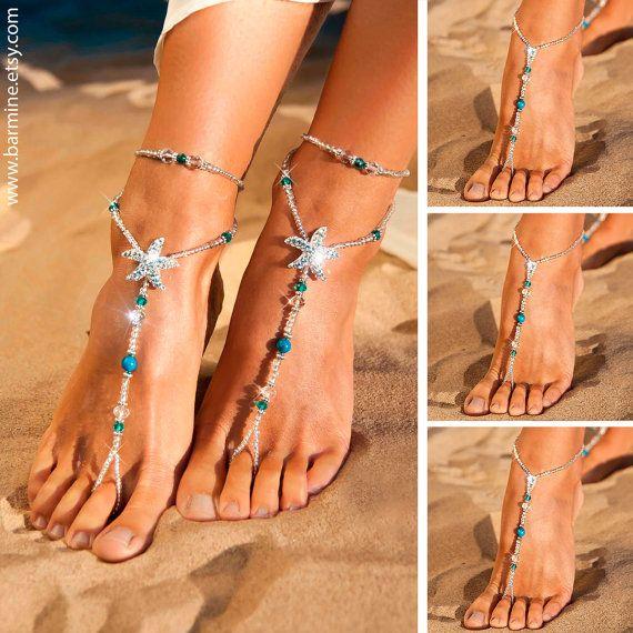 Wedding party set -Rhinestone starfish barefoot sandals -Something Blue -Bride and bridesmaid feet jewelry -Flower girl -Made of honor