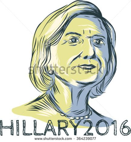 Jan. 19, 2016: Drawing sketch style illustration showing Democrat presidential candidate Hillary Clinton with words Hillary 2016 on isolated background. - stock vector #Hillary2016 #sketch #illustration